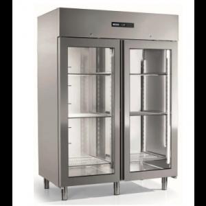 Koelkast Afinox, Energy 1400 TN 2PV, RVS, glasdeur, dynamische koeling, GN 2/1