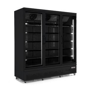 Koelkast, Combisteel JDE-1530R BL, 3 glasdeuren, zwart