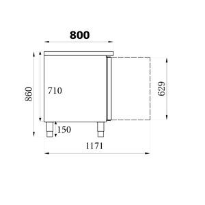 Bakkerskoelwerkbank Combisteel, 2 deuren, EN 600 x 400 mm