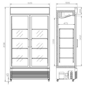 Koelkast Combisteel BEZ-780 GD 2 Glasdeuren