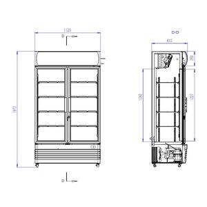 Koelkast Combisteel FCU-750 2 Glasdeuren