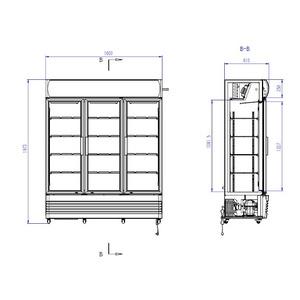 Koelkast Combisteel FCU-1200 3 Glasdeuren