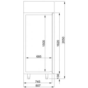 Koelkast Combisteel, mono block 1400 liter, glasdeur, RVS