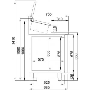 Saladette Combisteel, 3 deuren, 10 x GN 1/3
