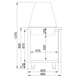 Saladette Combisteel, 3 deuren, 4 x GN 1/1