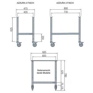 Viskoelvitrine Nordcap, AZZURRA 2, statische koeling, gebogen voorruit