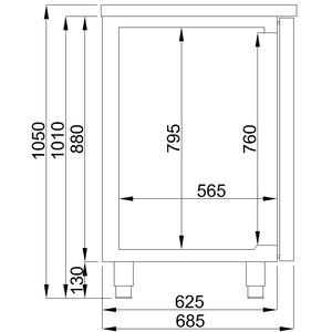 Bierkoeler Combisteel, 3 deuren en 2 spoelbakken (rechts)