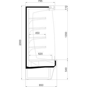 Wandkoelschap Nordcap, TWIST 1250 H1, 2 legborden, panorama-zijgedeeltes, spiegel, circulatiekoeling