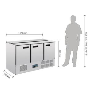 Saladette Polar, 3 deuren, 368 liter, GN 1/1