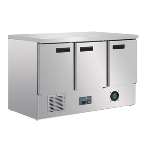 Koelwerkbank Polar, 3 deuren, 368 liter, GN 1/1