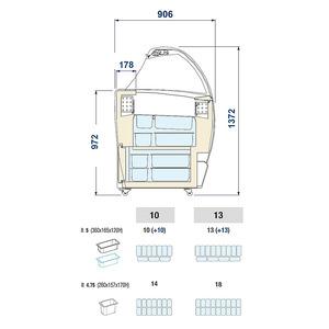 Roomijs vitrine, NordCap, ISABELLA LX 10, statische koeling, gebogen voorruit, gekoeld reservevak