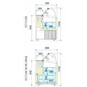 Roomijs vitrine, NordCap, ISETTA TP LX 6R, statische koeling, gebogen voorruit, mét reservevak