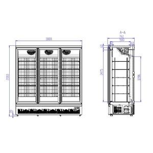 Vrieskast, Combisteel, JDE-1530F BL, 3 glasdeuren, zwart