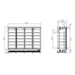 Koelkast, Combisteel, JDE-2025R BL, 4 glasdeuren, zwart