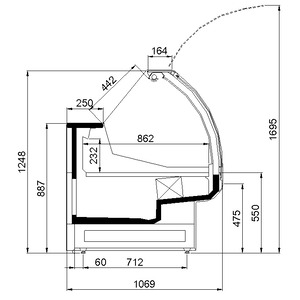 Koeltoonbank NordCap Kai 937-M M1, circulatiekoeling, onderbouwkoeling