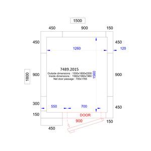 Koel/Vriescel Combisteel 1500 x 1800 x 2200 - 120 mm