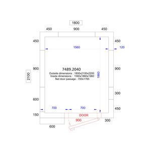 Koel/Vriescel Combisteel 1800 x 2100 x 2200 - 120 mm