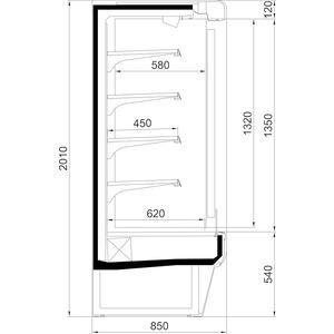 Wandkoelschap Nordcap, LG TWIST 1250 M2, 4 legborden, panorama-zijgedeeltes, circulatiekoeling