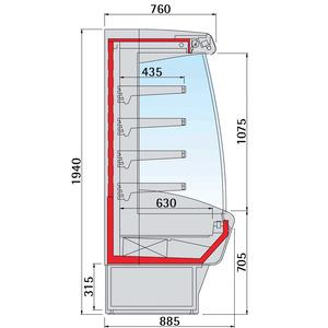 Wandkoelschap NordCap, MINOR 2000 70-M SL/MT, 4 legborden, circulatiekoeling