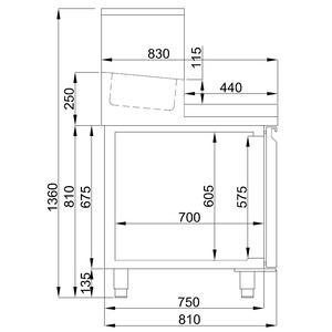 Pizzawerkbank Combisteel, 3 deuren, met bovenopzet voor 12 x GN 1/3