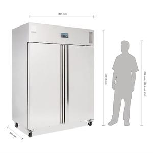 Koelkast Polar, dubbele deuren, 1300 liter, RVS, GN 2/1