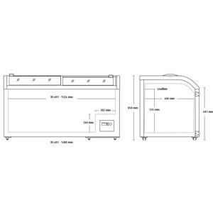 Koelkist - diepvrieskist Scancool, XS601, glazen schuifdeksel, statische koeling