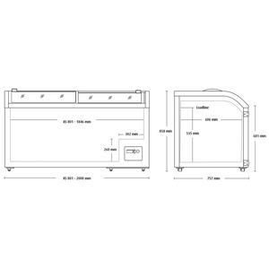 Koelkist - diepvrieskist Scancool, XS801, glazen schuifdeksel, statische koeling