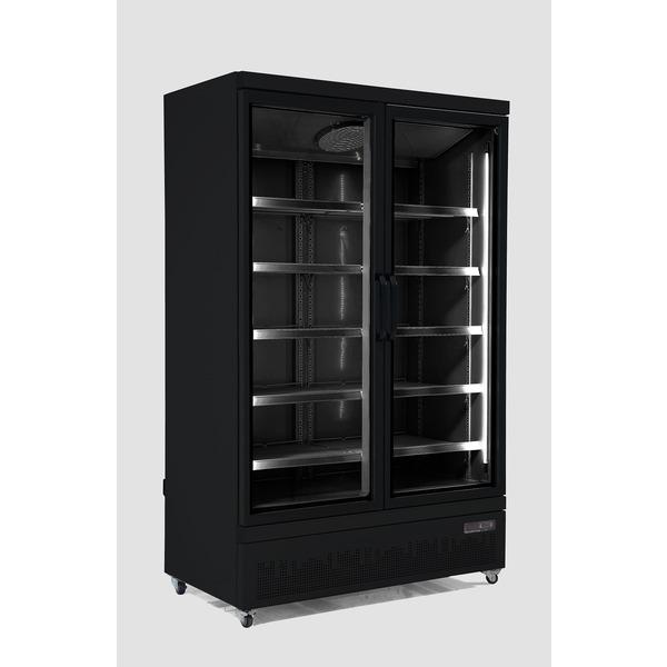 Vrieskast, Combisteel, JDE-1000F BL, 2 glasdeuren, zwart