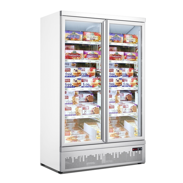Vrieskast Combisteel JDE-1000F, 2 glasdeuren, wit