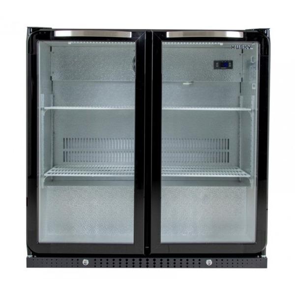 Glasdeur barkoeler Husky C2ZZH, dubbele deur, zwart