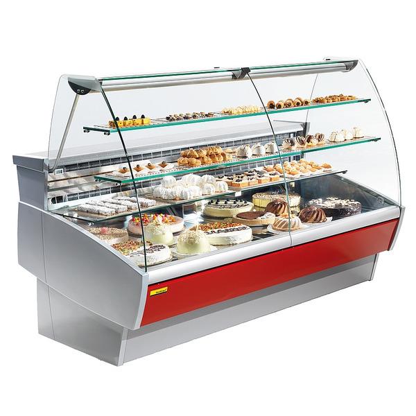 Banketbakkerijbuffet NordCap, Sweet II 300, statische koeling, gebogen voorruit