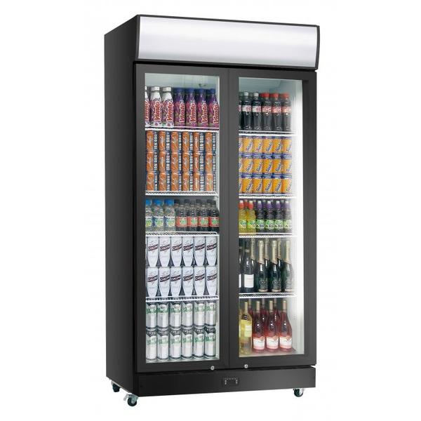 Koelkast Exquisit  ELDC 1011 HD, dubbele glazen deur, 1000 Liter, zwart, met LED-reclamepaneel