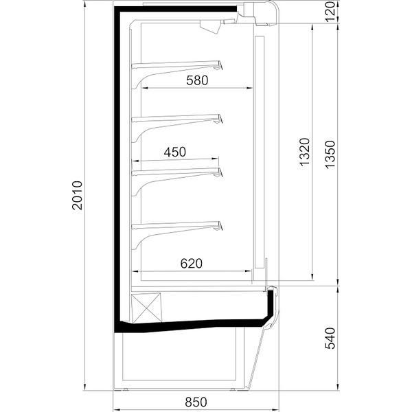 Wandkoelschap Nordcap, LG TWIST 1250 M1, 4 legborden, panorama-zijgedeeltes, circulatiekoeling